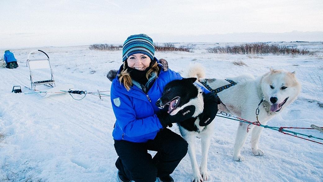 Juliana Dever dog sledding Iceland