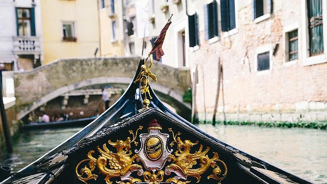 Gondola in Venice, Italy in spring