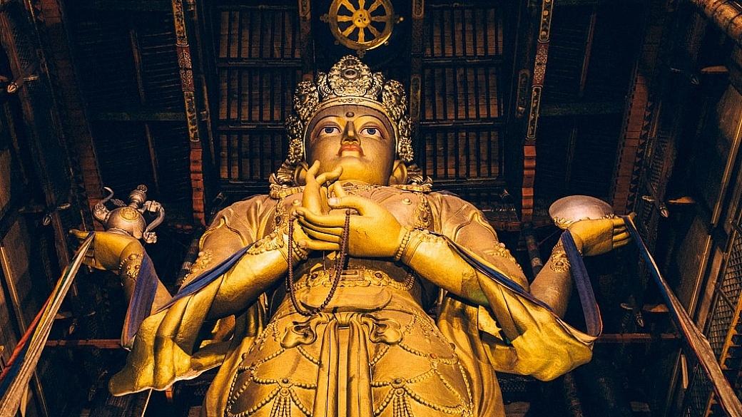 Golden Buddha Statue of Migjid Janraisig in Ulaanbaatar