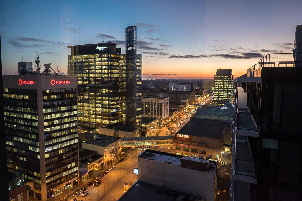 Winnipeg night view from ALT Hotel