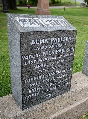 Halifax Fairview Titanic Cemetery Alma Paulson