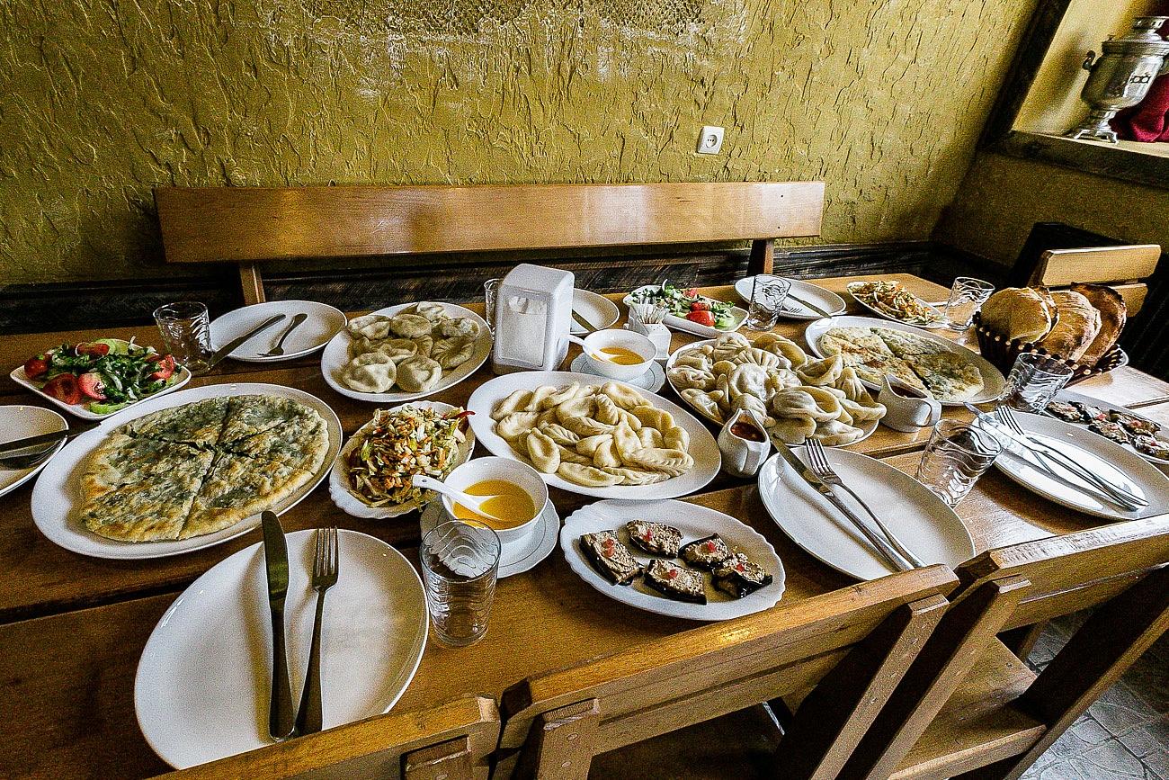 Georgian lunch table in Kazbegi