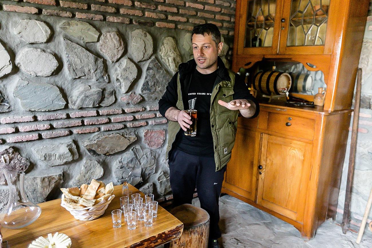 Georgian wine chacha with Zaza