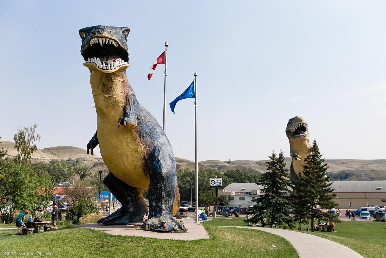 T-Rex statues Drumheller Canadian Badlands