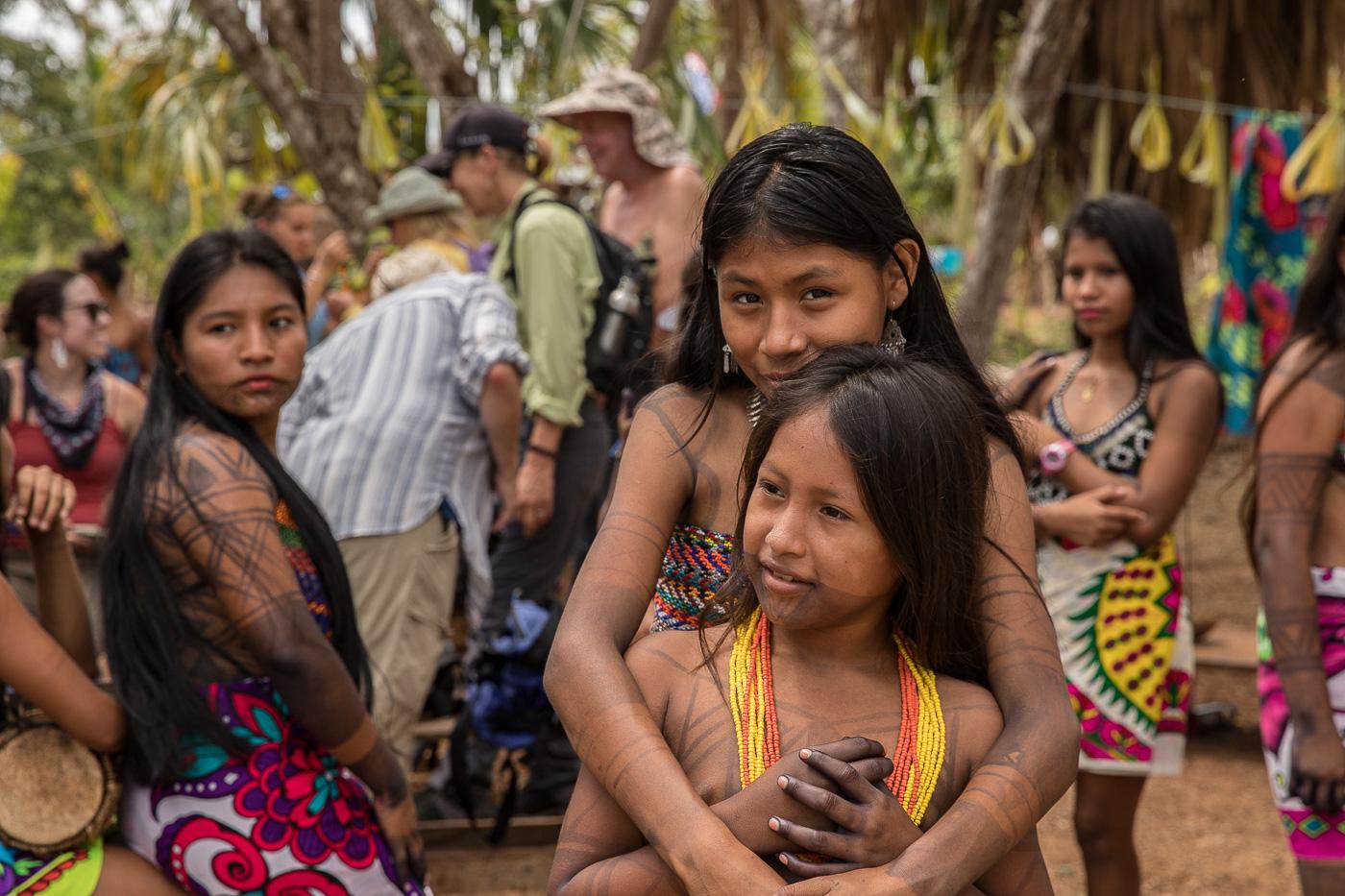 Panama Embera girls hugging